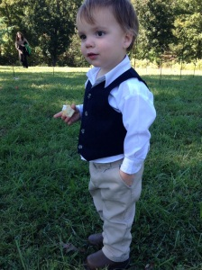 Jemmer was not a happy camper during the ceremony, but he perked up when the food was served at the reception.